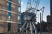 alter Kran, Hafen City, Hamburg, Deutschland.|.old crane, harbour city, Hamburg, Germany.