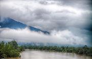 Looking into Gundung Gading National Park, Sarawak, Borneo (Malaysia), from a bridge crossing the river Sungai Stamin.