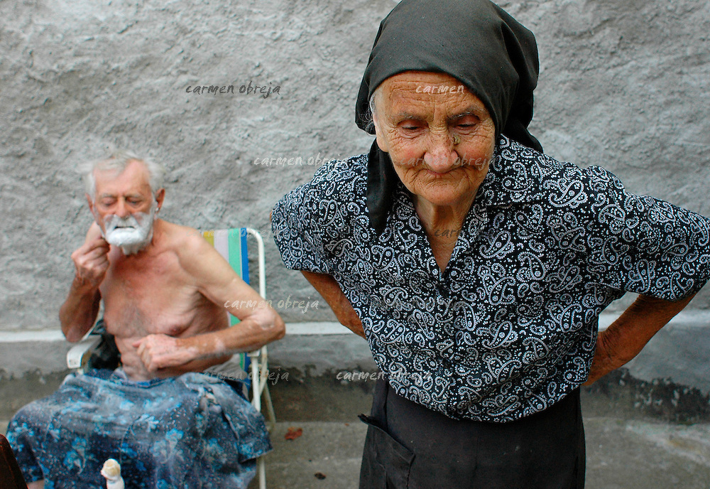 old couple at their homeplace in Banat region