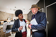 Adenike A. Akinsemolu with James Hansen.  Climateology Researcher and adjunct professor at the Columbia University James Hansen urges young people to act on climate change. He fails politicians and leaders in taking action. Here he speaks at a seminar held by Youth for Sustainable Development Goals at Columbia University.