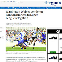 Gene Ormsby of Warrington Wolves scores a try against the London Broncos<br /> Cutting from the Guardian Newspaper