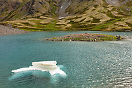 Iceberg in tarn in the alpine of Palmer Creek Valley in Southcentral Alaska. Summer. Afternoon.
