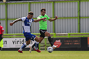 Bristol Rovers James Clarke(15) and Forest Green Rovers Christian Doidge(9) challenge for the ball during the Pre-Season Friendly match between Forest Green Rovers and Bristol Rovers at the New Lawn, Forest Green, United Kingdom on 21 July 2018. Picture by Shane Healey.