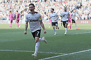 Celebrations as Derby County midfielder Harry Wilson scores a penalty during the EFL Sky Bet Championship match between Derby County and Queens Park Rangers at the Pride Park, Derby, England on 22 April 2019.