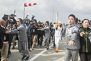 Suzy (miss A), Nov 1, 2017 : South Korean actress and singer from girl group miss A, Suzy (C), who is a torch bearer, attends the Olympic Torch Relay on the Incheon Bridge in Incheon, west of Seoul, South Korea. The Olympic flame arrived in Incheon, South Korea on Wednesday and it is going to be passed across the country during a 100-day tour until the opening ceremony of the 2018 PyeongChang Winter Olympics which will be held for 17 days from February 9 - 25, 2018. Photo by Lee Jae-Won (SOUTH KOREA) www.leejaewonpix.com