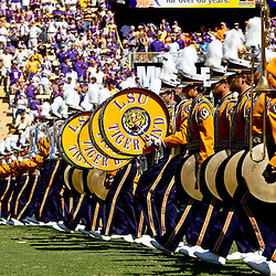 Oct 2, 2010; Baton Rouge, LA, USA; The LSU Tiger Band performs on the field prior to kickoff of a game between the LSU Tigers and the Tennessee Volunteers at Tiger Stadium.  Mandatory Credit: Derick E. Hingle