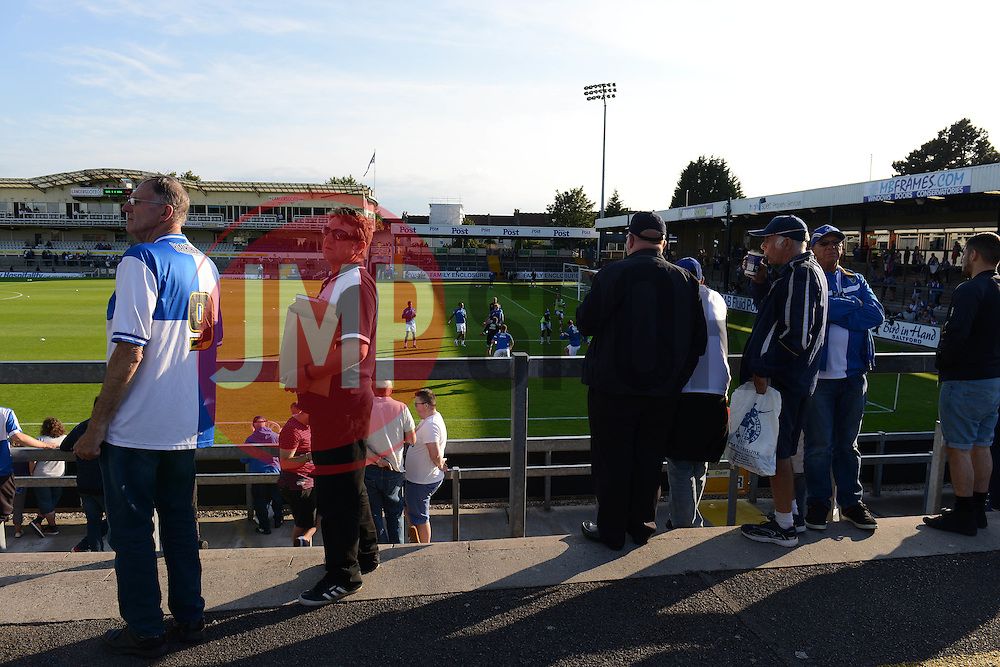 Fans look on as Bristol Rovers train before the Phil Kite Testimonial Match match between Bristol Rovers v West Brom at Memorial Stadium, Bristol - Mandatory byline: Dougie Allward/JMP - 07966386802 - 31/07/2015 - FOOTBALL - Memorial Stadium -Bristol,England - Bristol Rovers v West Brom - Phil Kite Testimonial Match