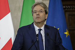 May 30, 2017 - Rome, Italy - Italian Prime Minister Paolo Gentiloni meets with Prime Minister of Canada Justin Trudeau at Villa Madama in Rome, Italy on May 30, 2017. (Credit Image: © Giuseppe Ciccia/Pacific Press via ZUMA Wire)