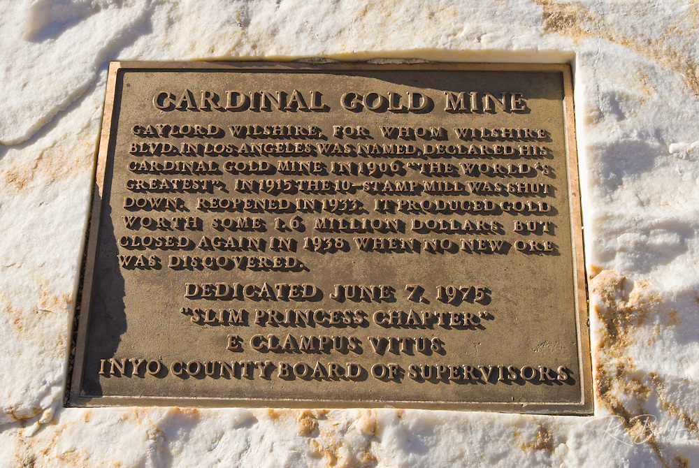 Historical plaque at the Cardinal Gold Mine site, Inyo National Forest, Sierra Nevada Mountains, California