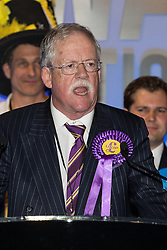 © Licensed to London News Pictures . 06/06/2014 . Newark , Nottinghamshire , UK . UKIP candidate Roger Helmer delivers his speech after coming second . The count for the Newark by-election at Kelham Hall , Newark , this morning (Friday 6th June 2014) . Photo credit : Joel Goodman/LNP