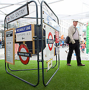 TFL Regent Street Festival <br /> with a display of transport designs <br /> 3rd July 2016 <br /> presented by Transport for London (TfL) and London Transport Museum.<br /> <br /> Regent Street, London, Great Britain <br /> <br /> The Transported by Design festival celebrates the designs that have kept London on the move from Victorian times to the present, and give visitors a peek at what might come in the future. <br /> <br /> <br /> View an exhibition of classic advertising posters and signage<br /> <br /> Photograph by Elliott Franks <br /> Image licensed to Elliott Franks Photography Services