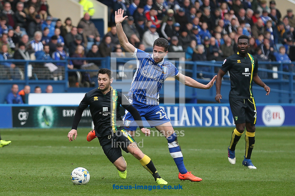 Wes Hoolahan of Norwich is fouled by Sam Hutchinson of Sheffield Wednesday during the Sky Bet Championship match at Hillsborough, Sheffield<br /> Picture by Paul Chesterton/Focus Images Ltd +44 7904 640267<br /> 04/03/2017