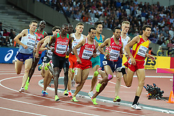 London, August 11 2017 . Race one of the men's 1500m semi-final on day eight of the IAAF London 2017 world Championships at the London Stadium. © Paul Davey.