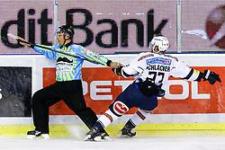 Linesman Matjaz Hribar and Markus Schlacher of VSV during ice-hockey match between HDD Telemach Olimpija and EC VSV in EBEL league, on November 1, 2015, in Hala Tivoli, Ljubljana. Photo by Morgan Kristan / Sportida.