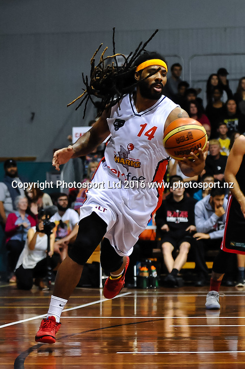 Jordair Jett of the Southland Sharks  during the NBL Basketball Match, Canterbury Rams V Southland Sharks, Cowles Stadium, Christchurch, New Zealand. 25th March 2016. Copyright Photo: John Davidson / www.photosport.nz