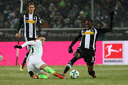 MOENCHENGLADBACH, March 3, 2018  Maximilian Eggestein (L) of Bremen vies with Denis Zakaria of Moenchengladbach during the Bundesliga match between Borussia Moenchengladbach and SV Werder Bremen at Borussia-Park in Moenchengladbach, Germany, on March 2, 2018.  The match ended with a 2-2 draw. (Credit Image: © Ulrich Hufnagel/Xinhua via ZUMA Wire)