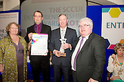 "In the SCCUL Entrepreneurship AWARDS 2012  Category Award ""Social Enterprise"".announced by.Ann Mallaghan Community, Enterprise and Economic Development Officer, Galwasy County Council presented by Ivan McPhilips Lecturer in Entrepreneurship & Business Management GMIT & Board Member SCCUL Enterprises Ltd.. to the winners.Paddy Coyne & Alan Coyne of iDonate.PIcture:Andrew Downes"