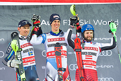 19.02.2019, Stockholm, SWE, FIS Weltcup Ski Alpin, Parallelslalom, Herren, Siegerehrung, im Bild v.l. 2. Platz Andre Myhrer (SWE), 1. Platz Ramon Zenhaeusern (SUI), 3. Platz Marco Schwarz (AUT) // f.l. second placed Andre Myhrer of Sweden race winner Ramon Zenhaeusern of Switzerland third placed Marco Schwarz of Austria during the winner Ceremony for the men's parallel slalom of FIS ski alpine world cup at the Stockholm, Sweden on 2019/02/19. EXPA Pictures &copy; 2019, PhotoCredit: EXPA/ Nisse Schmidt<br /> <br /> *****ATTENTION - OUT of SWE*****