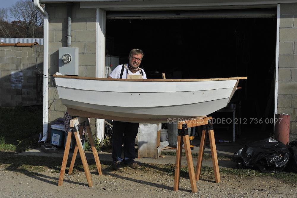 David Heim Boat Builder. Using the finest mahogany woods and hand tools David Heim creates a beautiful &quot;Nutshell Pram&quot;<br /> Tender
