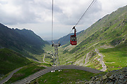 Cable car over Fagaras mountains road, Romania