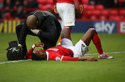Charlton Athletic striker Ricardo Vaz Te got injured on his home debut during the Sky Bet Championship match between Charlton Athletic and Ipswich Town at The Valley, London, England on 28 November 2015. Photo by Matthew Redman.