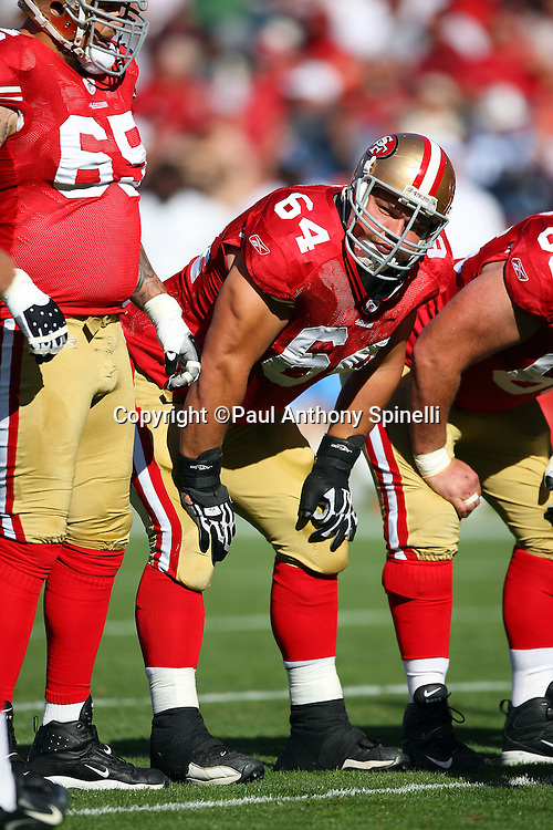 San Francisco 49ers guard David Baas (64) looks on during the NFL football game against the Tennessee Titans, November 8, 2009 in San Francisco, California. The Titans won the game 34-27. (©Paul Anthony Spinelli)