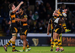 Wasps players celebrate their sides narrow victory during the  match - Photo mandatory by-line: Rogan Thomson/JMP - Tel: Mobile: 07966 386802 25/11/2012 - SPORT - RUGBY - Adams Park - High Wycombe. London Wasps v Leicester Tigers - Aviva Premiership.