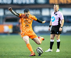 Sam Davies of Dragons kicks at goal<br /> <br /> Photographer Simon King/Replay Images<br /> <br /> Guinness PRO14 Round 9 - Cardiff Blues v Dragons - Thursday 26th December 2019 - Cardiff Arms Park - Cardiff<br /> <br /> World Copyright © Replay Images . All rights reserved. info@replayimages.co.uk - http://replayimages.co.uk