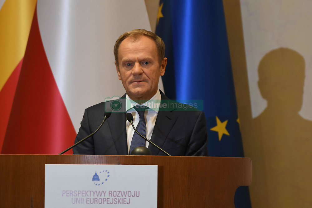 October 6, 2018 - Krakow, Poland - Donald Tusk, the President of the European Council, speaks during the 18th International Conference 'The role of the Catholic Church in the process of European integration' organised in the International Cultural Center, Krakow's Main Market Square..On Saturday, October 6, 2018, in Krakow, Poland. (Credit Image: © Artur Widak/NurPhoto/ZUMA Press)