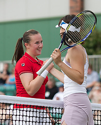 MANCHESTER, ENGLAND: Chloe Murphy (GBR) and Martina Hingis (SUI) on Day 4 of the Manchester Masters Tennis Tournament at the Northern Tennis Club. (Pic by David Tickle/Propaganda)