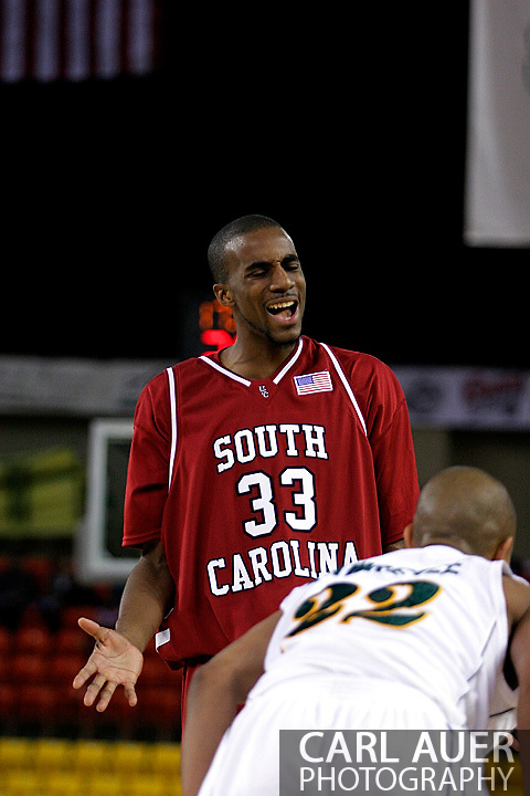 24 November 2005:Junior forward Brandon Wallace (33) from the University of South Carolina reacts after a first half foul is called against him in the Gamecock's 65 - 60 victory over the University of Alaska Anchorage Seawolves in the first round of the Great Alaska Shootout at the Sullivan Arena in Anchorage Alaska..