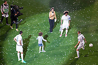 Varane, Marcelo and Benzema playing with Marcelo's son during the celebration of the victory of the Real Madrid Champions League at Santiago Bernabeu in Madrid. May 29. 2016. (ALTERPHOTOS/Borja B.Hojas)