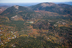 The peaks of Acadia National Park on Maine's Mount Desert Island.  Aerial.