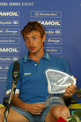 MONTE-CARLO, MONACO - Sunday, April 20, 2003: Juan Carlos Ferrero (Spain) with the Tennis Masters Monte-Carlo trophy during a press conference following 6-2, 6-2 defeat of Guillermo Coria (Argentina) in the final of the Tennis Masters Monte-Carlo. (Pic by David Rawcliffe/Propaganda)
