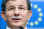 Brussels 8 March 2016<br /> <br /> Press conference closing the informal meeting of Heads of State or Government of the European Union and Turkey to discuss the migration and refugee crisis and the meeting of the members of the European Council.<br /> <br /> Pix Ahmet Davutoglu<br /> <br /> Credit Melanie Wenger / Isopix