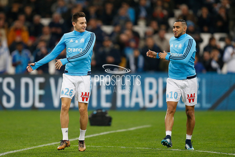 Olympique de Marseille's French forward Dimitri Payet and Olympique de Marseille's French forward Florian Thauvin warms up before the French Championship Ligue 1 football match between Olympique de Marseille and AS Monaco on January 28, 2018 at the Orange Velodrome stadium in Marseille, France - Photo Benjamin Cremel / ProSportsImages / DPPI