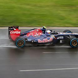 F1 Australian Grand Prix 16 March 2013 Qualifying Session 1.Qualifying Session 1. Daniel Ricciardo Scuderia Toro Rosso flys around a wet Albert Park circuit during qualifying..(c) MILOS LEKOVIC | StockPix.eu