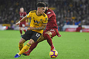 Wolverhampton Wanderers Morgan Gibbs-White on the ball during the Premier League match between Wolverhampton Wanderers and Liverpool at Molineux, Wolverhampton, England on 21 December 2018.