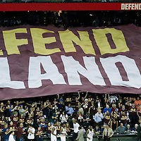 10 June 2016: Defend the land banners during the Golden State Warriors 108-97 victory over the Cleveland Cavaliers, during Game Four of the 2016 NBA Finals at the Quicken Loans Arena, Cleveland, Ohio, USA.