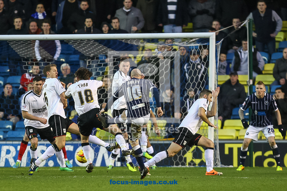 Picture by Daniel Chesterton/Focus Images Ltd +44 7966 018899<br /> 18/01/2014<br /> Nicky Bailey of Millwall has a shot blocked during the Sky Bet Championship match at The Den, London.