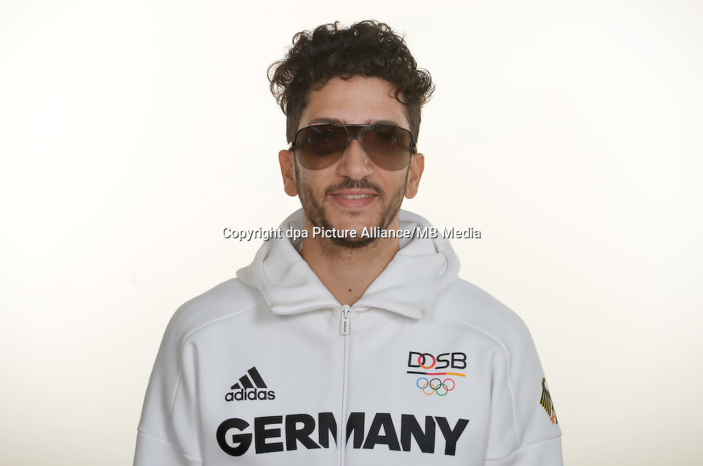 Levent Tuncat poses at a photocall during the preparations for the Olympic Games in Rio at the Emmich Cambrai Barracks in Hanover, Germany. July 26, 2016. Photo credit: Frank May/ picture alliance. | usage worldwide