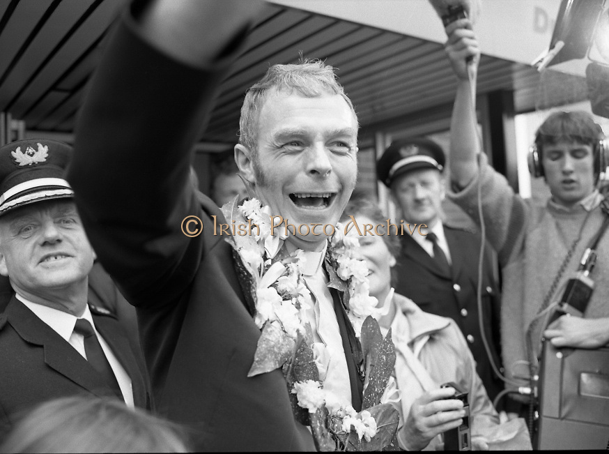 """Fr Niall O'Brien Returns from Captivity.1984..14.07.1984..07.14.1984..On 6 May 1983,Fr Niall O'Brien was arrested along with two other priests, Fr. Brian Gore, an Australian, Fr. Vicente Dangan, a Filipino and six lay workers - the so-called """"Negros Nine"""", for the murders of Mayor Pablo Sola of Kabankalan and four companions. The priests where held under house arrest for eight months but """"escaped"""" to prison in Bacolod City, the provincial capital, where they felt they would be safer.The case received widespread publicity in Ireland and Australia, the home of one of the co-accused priests, Fr. Brian Gore. When Ronald Reagan visited Ireland in 1984, he was asked on Irish TV how he could help the missionary priest's situation. A phone call the next day from the Reagan administration to Ferdinand Marcos resulted in Marcos offering a pardon to Fr. O'Brien and his co-accused..(Ref Wikipedia)...Fr Niall O'Brien is pictured being cheered by wellwishers as he leaves the arrivals at Dublin Airport."""