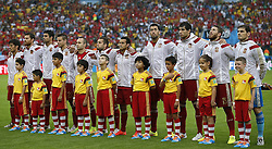 19.06.2014, Maracana, Rio de Janeiro, BRA, FIFA WM, Spanien vs Chile, Gruppe B, im Bild Spain's national team players sing Spain's national anthem // during Group B match between Spain and Chile of the FIFA Worldcup Brasil 2014 at the Maracana in Rio de Janeiro, Brazil on 2014/06/19. EXPA Pictures © 2014, PhotoCredit: EXPA/ Photoshot/ Wang Lili<br /> <br /> *****ATTENTION - for AUT, SLO, CRO, SRB, BIH, MAZ only*****
