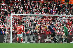 West Ham's Diafra Sakho scores a goal. - Photo mandatory by-line: Dougie Allward/JMP - Mobile: 07966 386802 - 25/01/2015 - SPORT - Football - Bristol - Ashton Gate - Bristol City v West Ham United - FA Cup Fourth Round