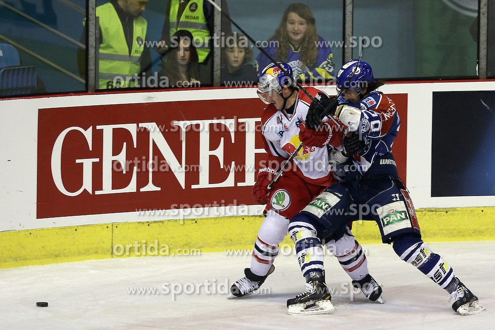 24.02.2013, Dom Sportova, Zagreb, CRO, EBEL, KHL Medvescak Zagreb vs EC Red Bull Salzburg, Playoff best of seven, 1. Runde, im Bild Andreas Kristler, Gal Koren // during the Erste Bank Icehockey League playoff best of seven 1st round match between KHL Medvescak Zagreb and EC Red Bull Salzburg at the Dom Sportova, Zagreb, Croatia on 2013/02/24. EXPA Pictures © 2013, PhotoCredit: EXPA/ Pixsell/ Dalibor Urukalovic..***** ATTENTION - for AUT, SLO, SUI, ITA, FRA only *****