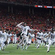21 November 2015: Michigan State Spartans place kicker Michael Geiger (4) celebrates after kicking a game winning field goal following the game between the Ohio State Buckeyes and the Michigan State Spartans at the Ohio Stadium in Columbus, Ohio. (Photo by Khris Hale/Icon Sportswire)