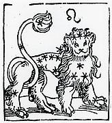 Zodiac sign of Leo .  From 'Sphaera mundi', Strasburg, 1539