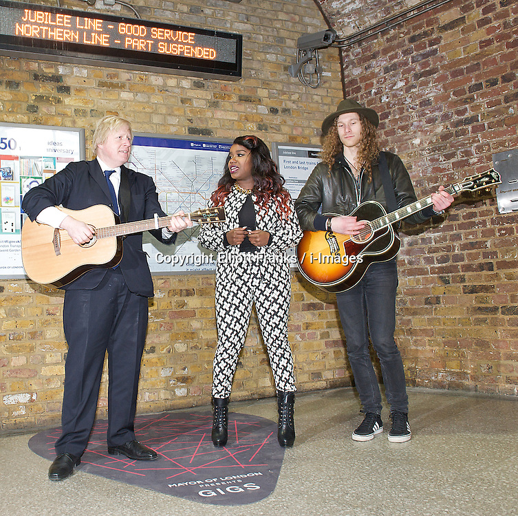 Boris Johnson and Misha B launch Gigs 2013 competition to find a London Busking Star,  London Bridge Station, London, Great Britain, March 26, 2013. Photo by Elliott Franks / i-Images...Contact..Andrew Parsons: 00447545 311662.Stephen Lock: 00447860204379