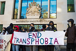A group of of transgender rights activists demonstrate outside Westminster Magistrates' Court to &quot;Free the Shewolf&quot;, Tanis Jacob Wolf / aka Tara Flik Wood who is facing a charge of assault by beating of a 60 year old woman at Speaker&rsquo;s Corner in Hyde Park, London in September 2017.<br /> <br /> Wolf/Wood, 26, entered a plea of not guilty and was bailed to appear at Hendon Magistrates&rsquo; Court in two months&rsquo; time. London, February 15 2018.