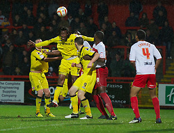 STEVENAGE, ENGLAND - Saturday, November 24, 2012: Tranmere Rovers' Ian Goodison in action against Stevenage during the Football League One match at Broadhall Way. (Pic by David Rawcliffe/Propaganda)